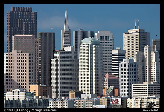 Financial district skyline with MOMA building, afternoon. San Francisco, California, USA (color)