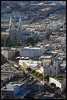 North Beach and Columbus Avenue from above, late afteroon. San Francisco, California, USA (color)