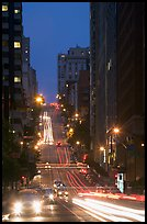 Steep street and lights at dusk. San Francisco, California, USA