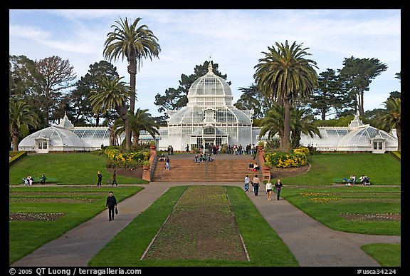 Conservatory of Flowers and lawn, afternoon. San Francisco, California, USA (color)