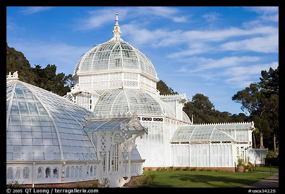 Side view of the Conservatory of Flowers, whitewashed to avoid heat absorption. San Francisco, California, USA (color)