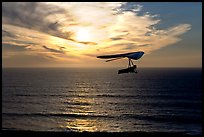 Soaring in a hang glider above the ocean at sunset,  Fort Funston. San Francisco, California, USA ( color)