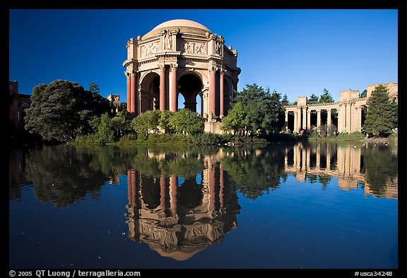 Palace of Fine Arts reflected in lagoon, morning. San Francisco, California, USA (color)
