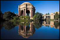 Palace of Fine Arts reflected in lagoon, morning. San Francisco, California, USA