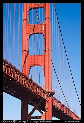 Golden Gate Bridge pillar. San Francisco, California, USA (color)