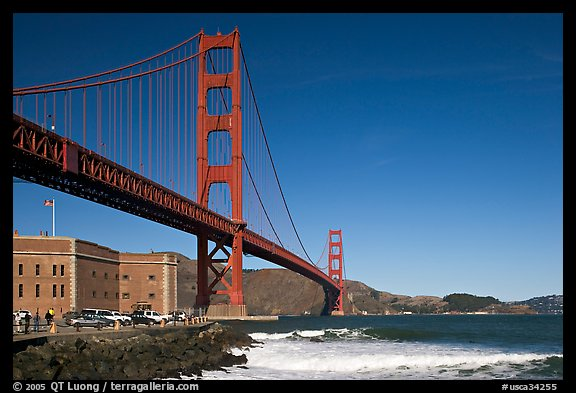 Fort Point and Golden Gate Bridge. San Francisco, California, USA (color)