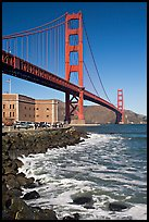 Three-story Fort Point below the Golden Gate Bridge. San Francisco, California, USA