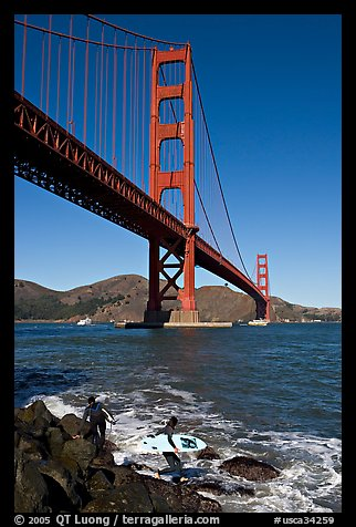 Surfers below the Golden Gate Bridge. San Francisco, California, USA