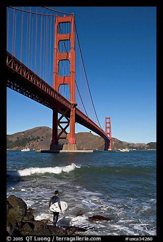 Surfer and wave below the Golden Gate Bridge. San Francisco, California, USA