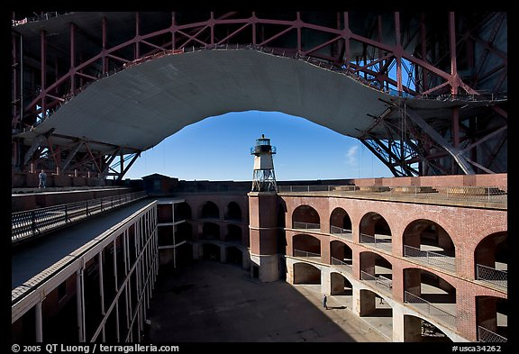Fort Point courtyard, lighthouse,  and arch of the Golden Gate Bridge. San Francisco, California, USA (color)