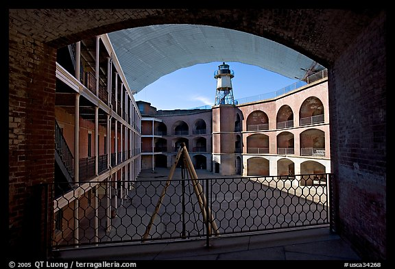 Fort Point courtyard and galleries. San Francisco, California, USA (color)