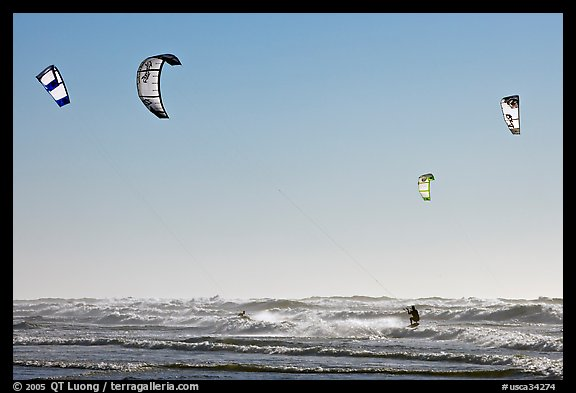 Multitude of kite surfing wings, afternoon. San Francisco, California, USA (color)