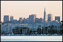 Sausalito houseboats and City skyline, sunset. San Francisco, California, USA