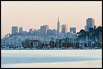 City skyline with Sausalito houseboats of Richardson Bay in the background. San Francisco, California, USA