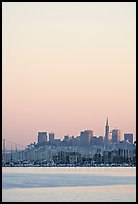 Sausalito houseboats and San Francisco skyline, sunset. San Francisco, California, USA