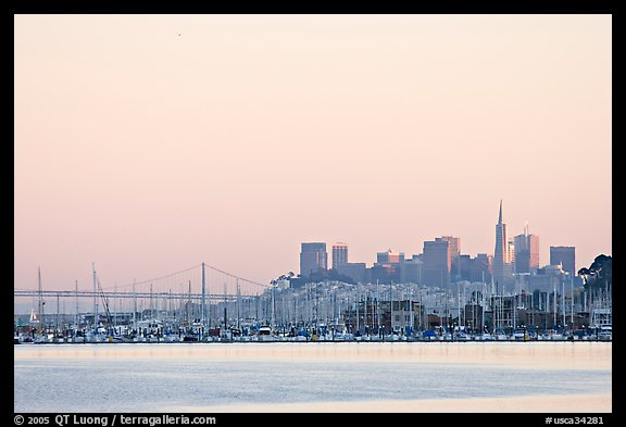 San Francisco Skyline seen from Sausalito with houseboats in background. San Francisco, California, USA