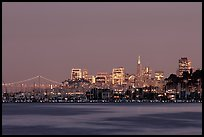 Sausalito houseboats and San Francisco skyline at night. San Francisco, California, USA