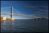 Pier, Oakland Bay Bridge, and Yerba Buena Island, early morning. San Francisco, California, USA (color)