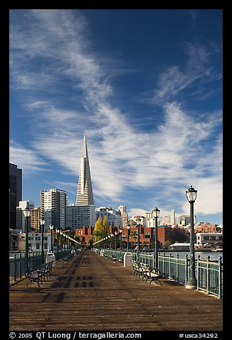 Wooden pier and Transamerica Pyramid, morning. San Francisco, California, USA (color)