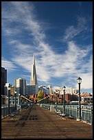 Wooden pier and Transamerica Pyramid, morning. San Francisco, California, USA