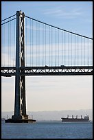 Bay Bridge and tanker,  morning. San Francisco, California, USA