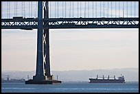 Tanker ship and Bay Bridge,  morning. San Francisco, California, USA (color)