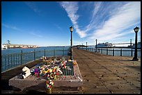 Makeshift memorial on pier seven. San Francisco, California, USA