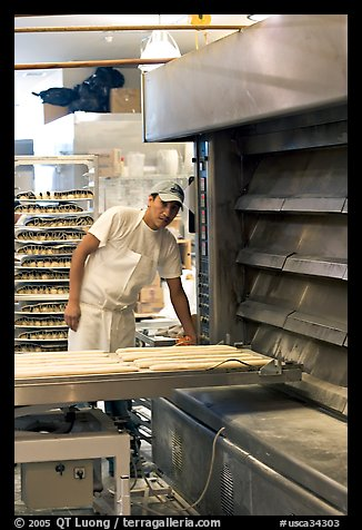 Baker loading loafs of bread into oven. San Francisco, California, USA (color)