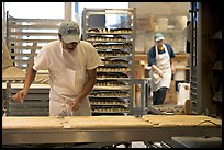 Baker hand-coating lofs of bread. San Francisco, California, USA