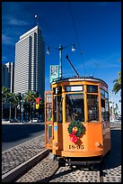 Historic trolley car and Embarcadero center building. San Francisco, California, USA (color)