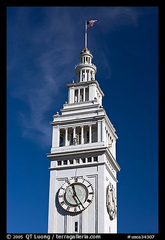 Clock tower of the Ferry building, 204 foot tall. San Francisco, California, USA