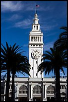 Clock tower of the Ferry building, modeled after the  Seville Cathedral. San Francisco, California, USA ( color)