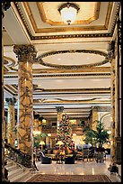 Opulent lobby of the Fairmont Hotel. San Francisco, California, USA