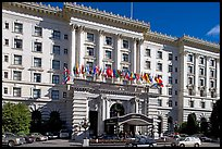 Facade of the Fairmont Hotel, early afternoon. San Francisco, California, USA (color)