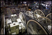 Cable Car powerhouse with cable winding machines. San Francisco, California, USA (color)