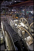 Cable winding machinery in the Cable-car powerhouse. San Francisco, California, USA (color)