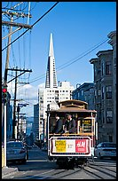 Cable car and Transamerica Pyramid. San Francisco, California, USA