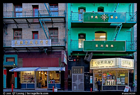 Painted houses in Wawerly Alley, Chinatown. San Francisco, California, USA (color)