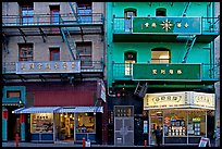 Painted houses in Wawerly Alley, Chinatown. San Francisco, California, USA