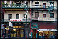 Shops and houses, Wawerly Alley, Chinatown. San Francisco, California, USA (color)