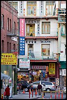 Waverley Alley and street in Chinatown. San Francisco, California, USA (color)