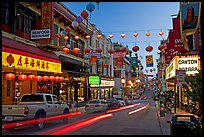 Lanterns and lights on Grant Street at dusk, Chinatown. San Francisco, California, USA ( color)