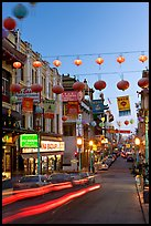 Grant Street at dusk,  Chinatown. San Francisco, California, USA (color)