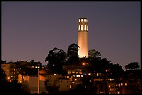 Coit Tower and Telegraph Hill at night. San Francisco, California, USA