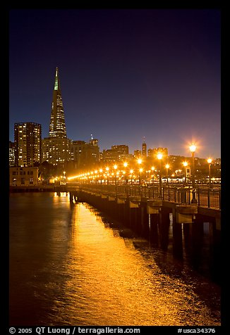 Lights and reflection, Pier seven, and Transamerica Pyramid. San Francisco, California, USA