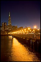 Lights and reflection, Pier seven, and Transamerica Pyramid. San Francisco, California, USA (color)