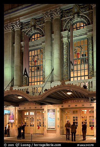 Geary Theatre at night. San Francisco, California, USA