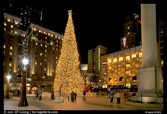 Christmas tree on Union Square at night. San Francisco, California, USA