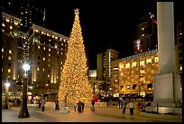 Christmas tree on Union Square at night. San Francisco, California, USA ( color)
