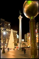 Union Square at night. San Francisco, California, USA